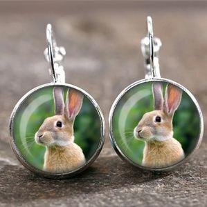New Bunny Rabbit Glass Cabochon 18MM Earrings